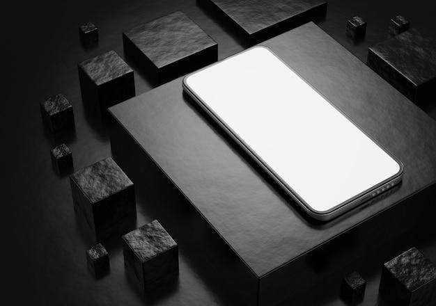 Maquete de smartphone em um fundo escuro. tela branca do smartphone. renderização 3d.