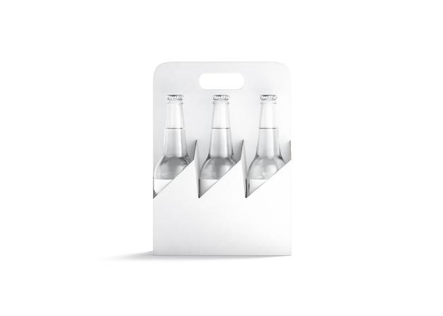Maquete de suporte de papelão de garrafa de cerveja de vidro branco em branco sacola vazia com maçaneta de bebida