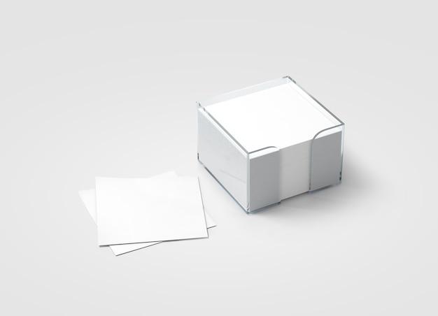 Maquete de suporte de plástico de bloco de nota em branco em branco