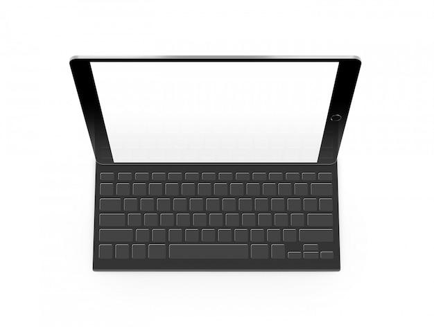 Maquete de tablet de tela em branco com teclado isolado