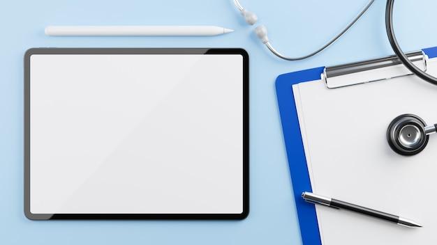 Maquete de tablet para exibição com prancheta médica de estetoscópio em fundo azul renderização 3d