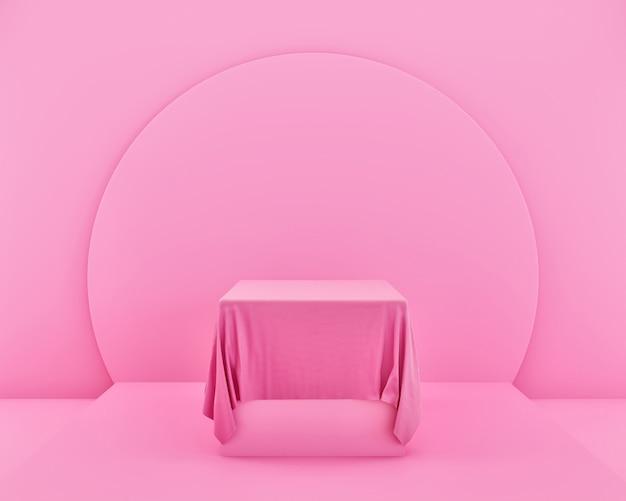 Maquete de tecido abstrato rosa minimalista para exibição no pódio