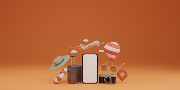 Maquete de tela branca para celular com avião, balão, anel de borracha, bagagem, óculos de sol, chapéu e câmera