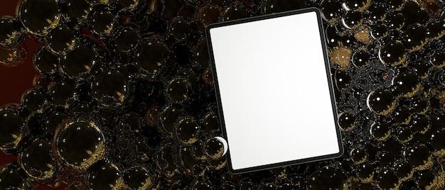 Maquete de tela em branco do tablet digital sobre bolhas fundo escuro abstrato renderização em 3d