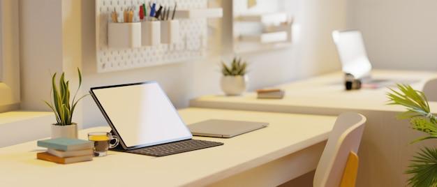 Maquete de tela em branco do tablet do dormitório do campus em renderização 3d moderna de espaço de trabalho mínimo