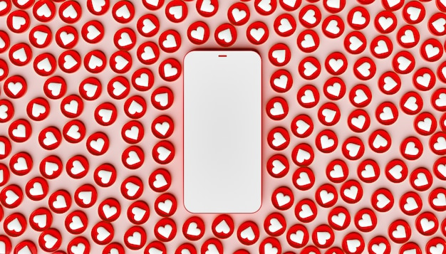 Maquete de telefone celular com muitos ícones semelhantes ao redor
