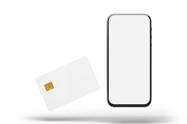 Maquete de telefone móvel com tela em branco e cartões isolados no papel branco. renderização 3d