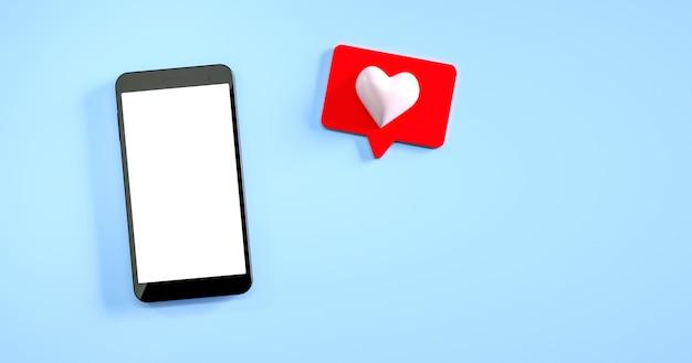 Maquete de telefone móvel com uma notificação semelhante na renderização de fundo azul