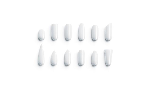 Maquete de tipo de forma de unhas artificiais brancas em branco vazio falso diferente maquete de unha isolada