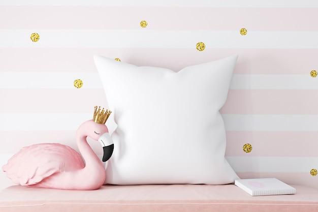 Maquete de travesseiro de flamingo rosa