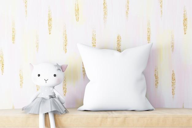 Maquete de travesseiro e gato de pelúcia