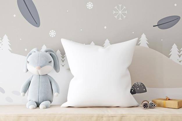 Maquete de travesseiro infantil com lebre