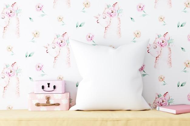 Maquete de travesseiro infantil papel de parede lhamas