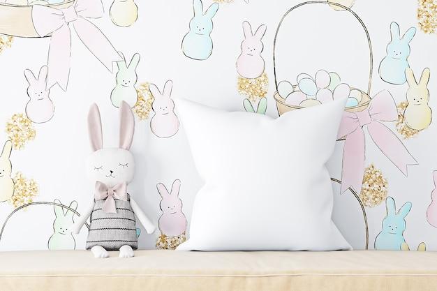 Maquete de travesseiro para crianças no fundo do papel de parede de páscoa