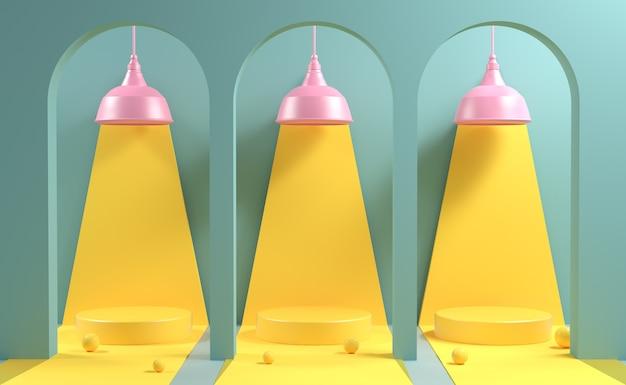 Maquete de três estágios em crepúsculo amarelo com lâmpada rosa