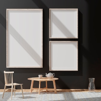 Maquete de três quadros brancos verticais, quadro dourado na parede preta, ilustração 3d