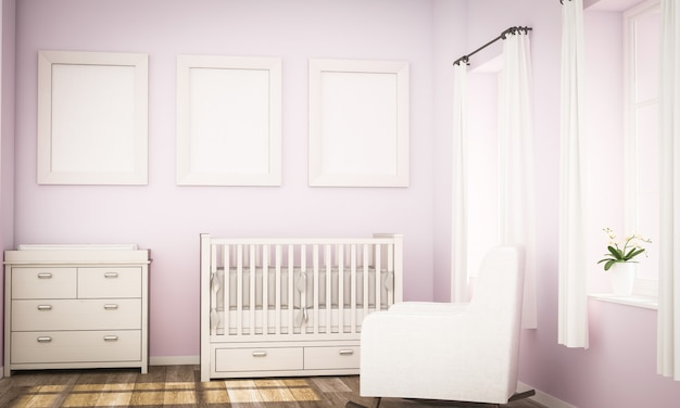 Maquete de três quadros na parede rosa no quarto do bebê