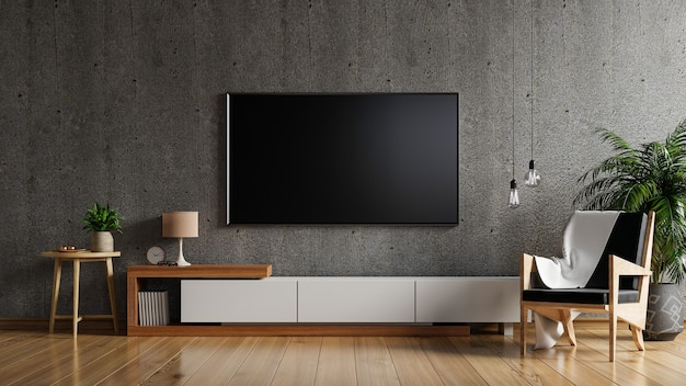 Maquete de tv no armário da sala de estar na parede de concreto, renderização em 3d