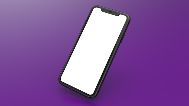 Maquete de um celular preto com um fundo gradiente roxo. perfeito para colocar imagens de sites ou aplicativos.