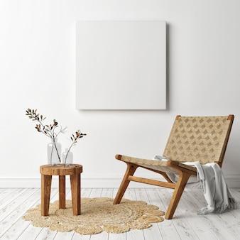 Maquete de um pôster, moldura quadrada com poltrona retrô, design escandinavo, renderização em 3d, ilustração em 3d