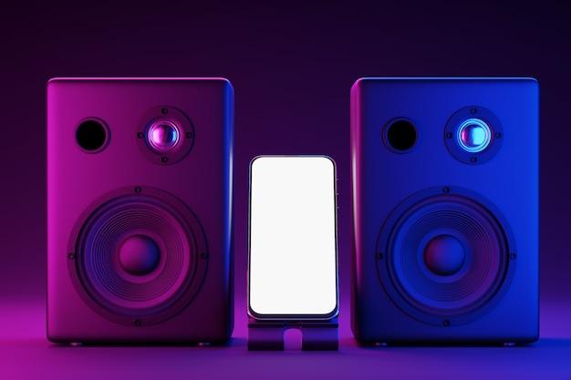 Maquete de um smartphone com uma tela branca no fundo dos alto-falantes de música. iluminação neon de clones musicais. maquete de smartphone de tela branca para o design do seu aplicativo. renderização 3d
