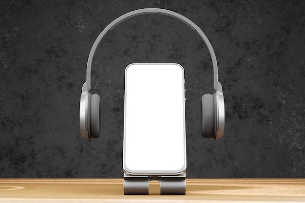 Maquete de um smartphone em um suporte com fones de ouvido. smartphone em uma mesa de madeira e um fundo escuro. renderização 3d.