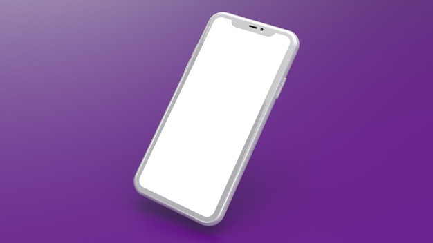 Maquete de um telefone celular branco com um fundo gradiente roxo. perfeito para colocar imagens de sites ou aplicativos.
