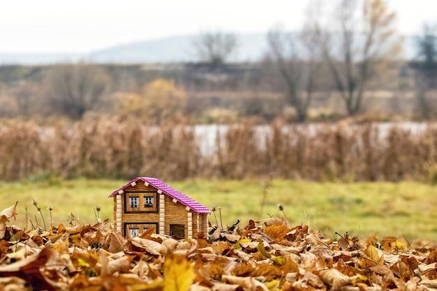 Maquete de uma casa à beira do rio no outono. habitação na natureza