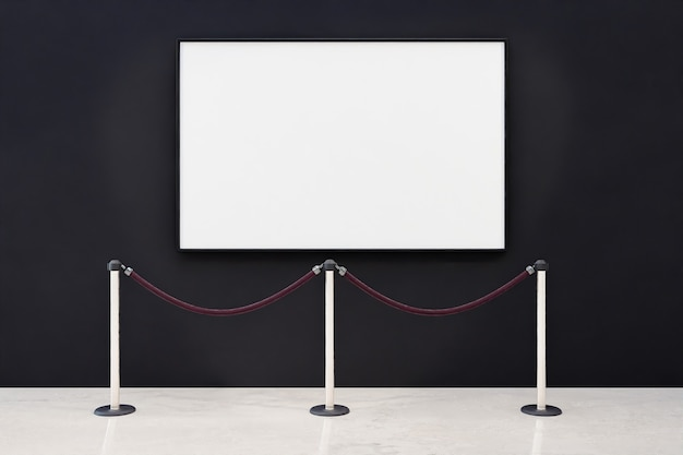 Maquete de uma moldura em branco com barreira de segurança