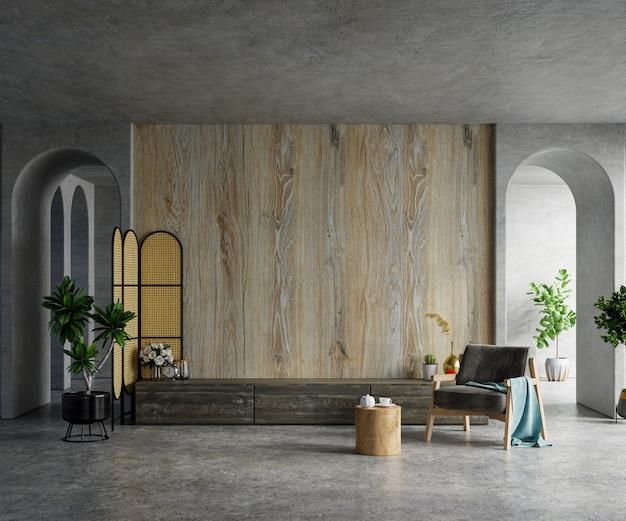 Maquete de uma parede de tv montada em uma sala de cimento com uma renderização de madeira.