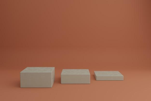 Maquete de vitrine em branco com elementos geométricos simples em 3d pódios vazios para produtos cosméticos