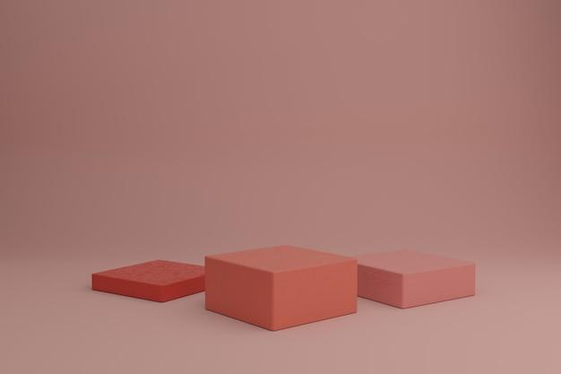 Maquete de vitrine em branco com elementos quadrados geométricos simples, modelagem de cena em 3d com formas geométricas