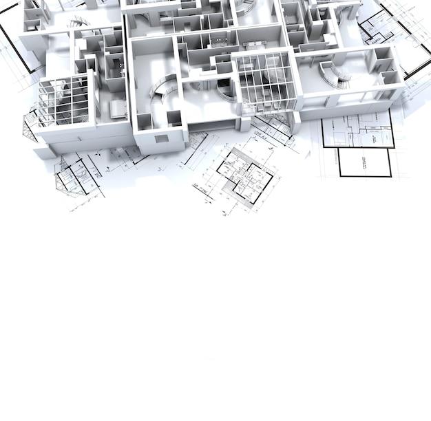 Maquete do apartamento sobre as plantas do arquiteto