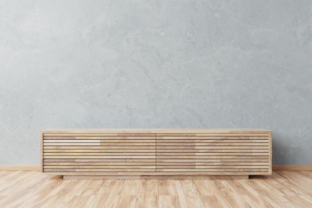 Maquete do armário na moderna sala vazia, parede de cimento