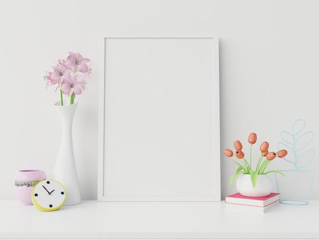 Maquete do cartaz com moldura vertical e direita / esquerda tem livro, flor fundo de parede branca, renderização em 3d