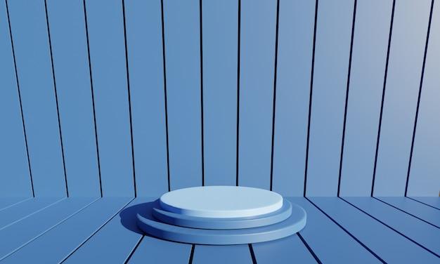 Maquete do círculo 3d abstrato azul com fundo azul. ilustração 3d