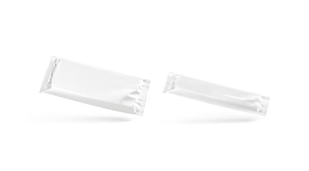 Maquete do envoltório da folha de chocolate grande e pequena da barra de chocolate em branco. maquete do pacote de sobremesa vazio isolado