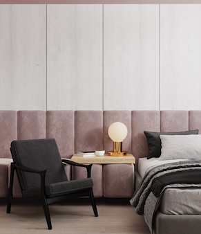 Maquete do interior do quarto claro, cama e cadeira no fundo da parede de madeira vazia, estilo escandinavo, renderização 3d