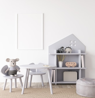 Maquete do interior do quarto infantil com móveis cinza unissex