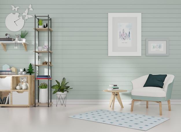 Maquete do interior em uma sala com ripas azuis na parede e um porta-retrato, uma poltrona azul é posta