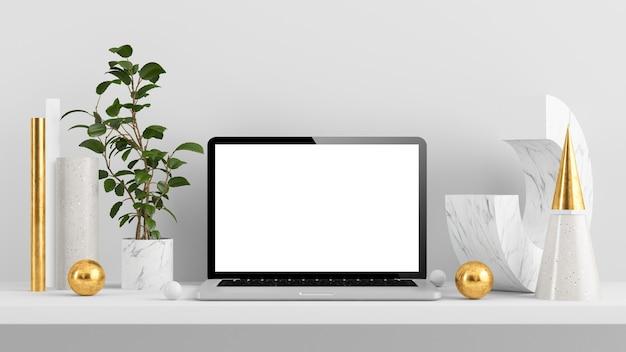 Maquete do laptop com renderização em 3d de formas abstratas