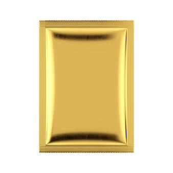 Maquete do pacote do saco em branco de alumínio dourado sobre um fundo branco. renderização 3d