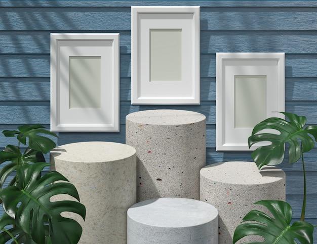 Maquete do pódio abstrato com frames