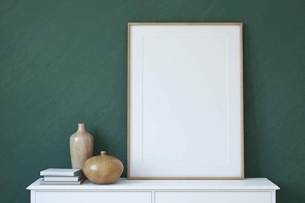 Maquete do quadro. interior com grande moldura vertical. renderização 3d.