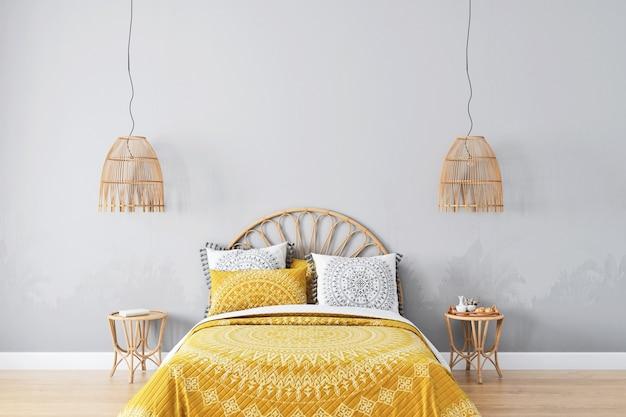 Maquete do quarto do berçário com moldura dourada