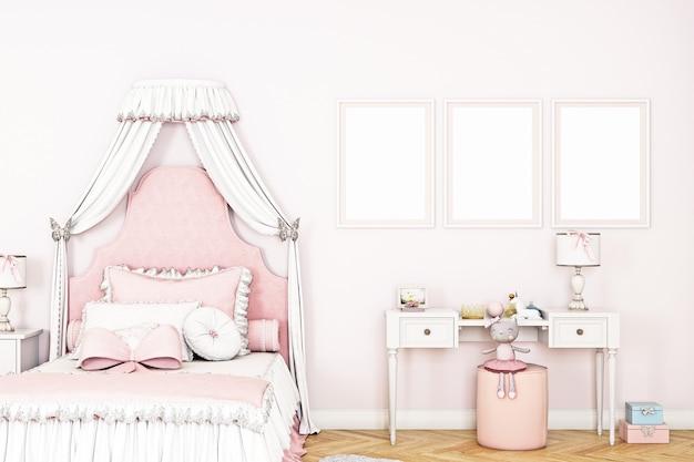 Maquete do quarto infantil em tons de rosa