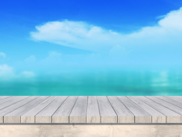 Maquete do verão turva 3d rendem mesa de madeira, olhando para fora da paisagem do mar