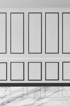 Maquete elegante de parede com padrão branco e piso de mármore