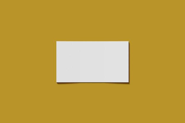 Maquete em branco negócios ou cartão de visita em um fundo amarelo renderização em 3d
