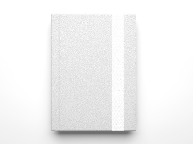Maquete fotorrealista de caderno diário de couro branco isolado em superfície cinza claro, renderização 3d